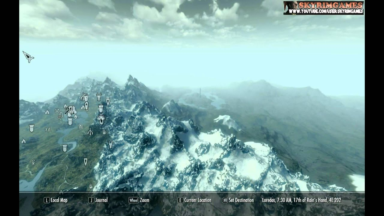 skyrim a quality world map with roads youtube