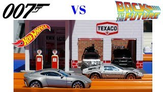 Hot Wheels James Bond Aston Martin vs Back to the Future delorean epic race