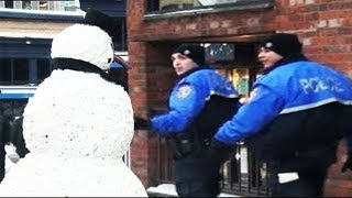 Cops Get Scared - Most Savage Snowman Hidden Camera Practical Joke Compilation of 2011