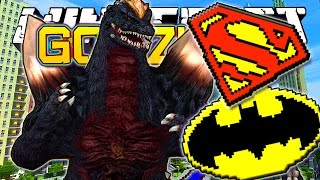 Minecraft : Batman & Superman VS Godzilla Boss Mod - EPIC MINECRAFT DEATH BATTLES!