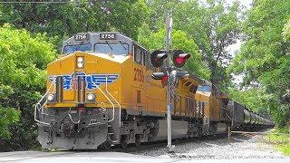 Pair Of UP Locomotives Pulling CSX Tank Train