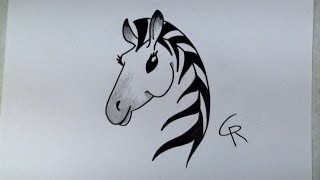 Learn How To Draw A Stylish Cartoon Zebra - iCanHazDraw!