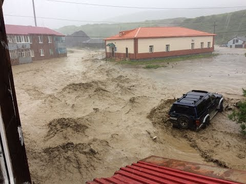 Северо-Курильск, Парамушир, потоп 04.09.2017 г. Hurricane, Storm