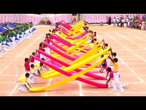 Saree drill (Satin cloth display), sports day celebration-2018