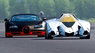 Lamborghini Egoista vs Bugatti Veyron Super Sport - Top Gear Track