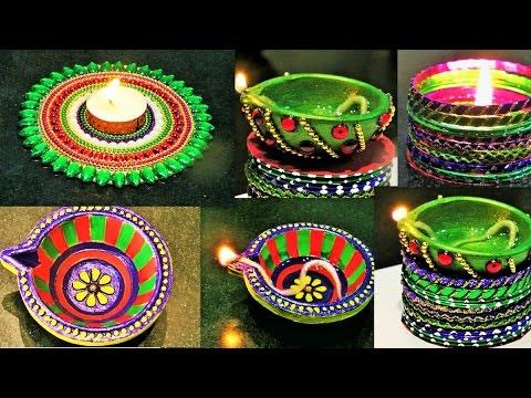 Diy diwali room decor diya stand from waste cd diy for Diya decoration youtube
