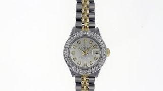 Rolex Ladies Datejust 18k Gold 69173 QuickSet Diamond Bezel Silver Dial