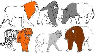 Wild Animals Coloring Pages - Name and Sound - Learning Animal for Kids - Kids World