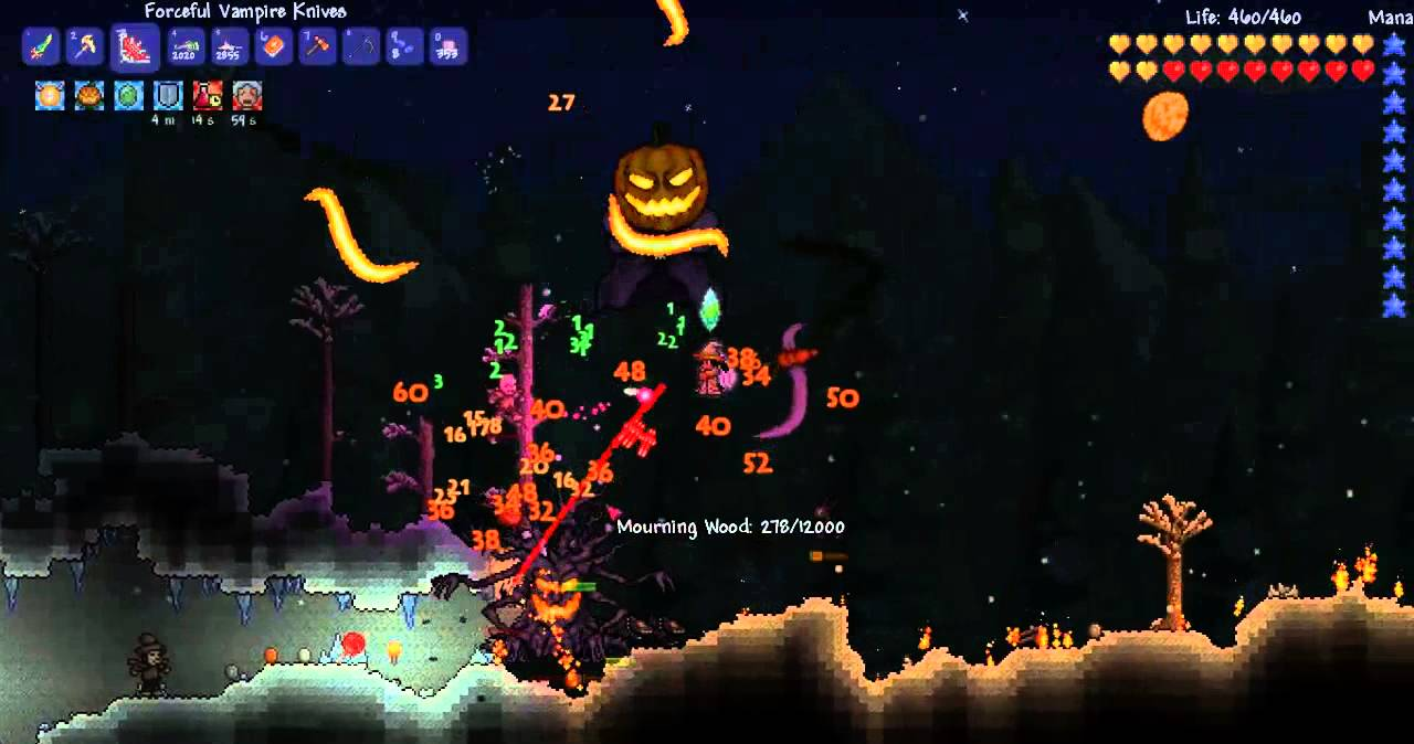 terraria halloween update 1.2.1 - pumpkin moon - youtube