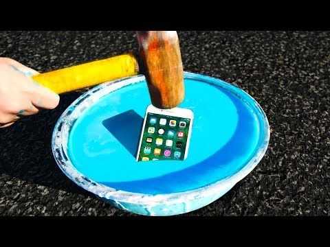 Thumbnail: Can Oobleck Protect an iPhone 7 from a Sledgehammer? (Non-Newtonian Fluid!)