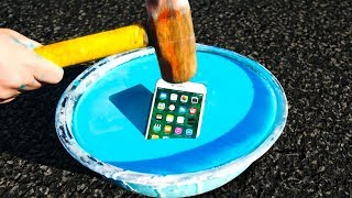 Can Oobleck Protect an iPhone 7 from a Sledgehammer? (Non-Newtonian Fluid!)