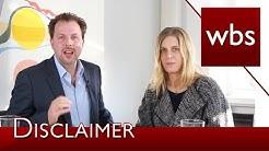 Was bringen Disclaimer im Impressum?   Kanzlei WBS im Interview mit Ricarda Nieswandt