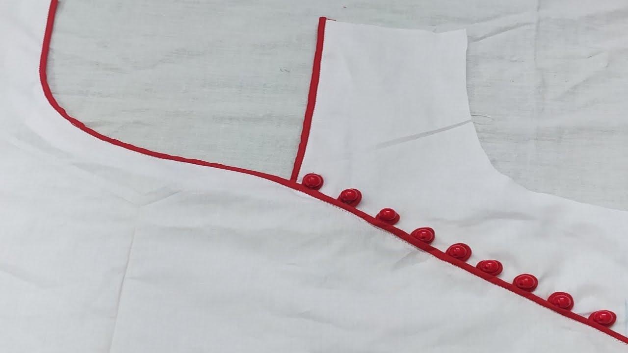 New Neck Design 2021/লুফ বুতাম দিয়ে গলারডিজাইন /kurti neck design catting and sewing.Neck sewing.