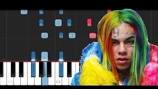 6ix9ine - KIKA ft Tory Lanez (Piano Tutorial)