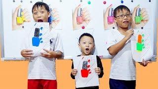 Hunter Kids Go To School Learn Colors Nail polish | Classroom Funny Nursery Rhymes