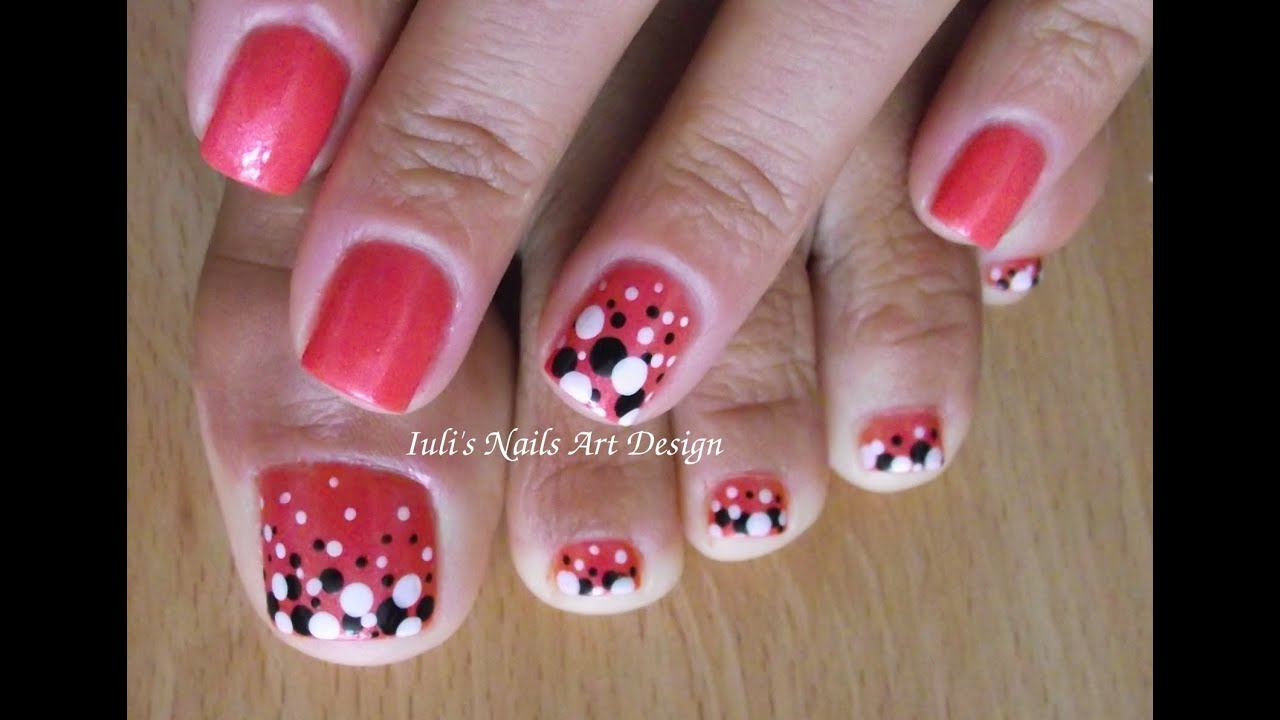 Valentine Day Toes Art Design Beginners Red Black White Diffe Size Dots
