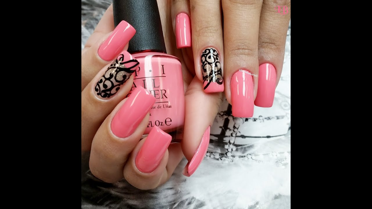 coral nail art #opi
