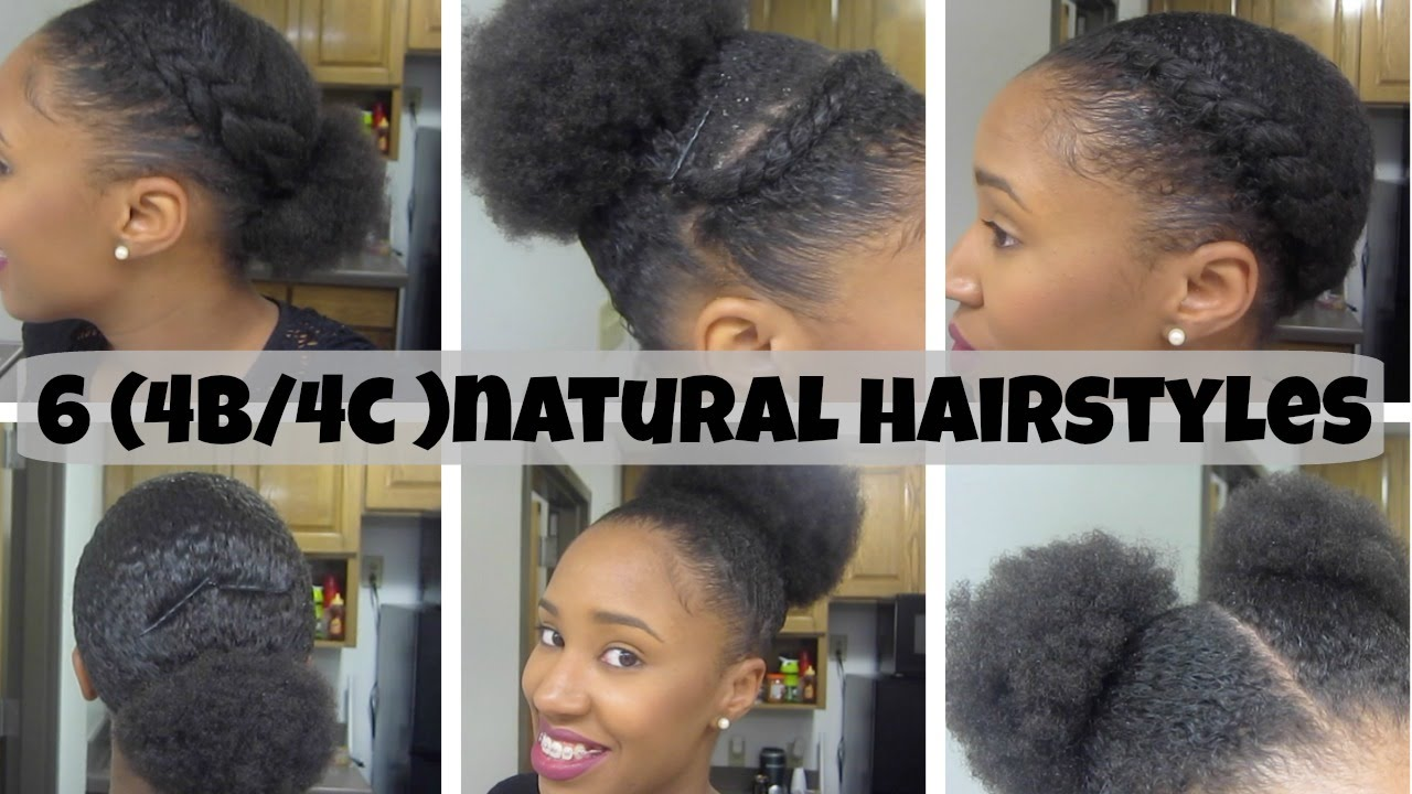 6 Natural Hairstyles On Short Medium Hair 4b 4c Youtube