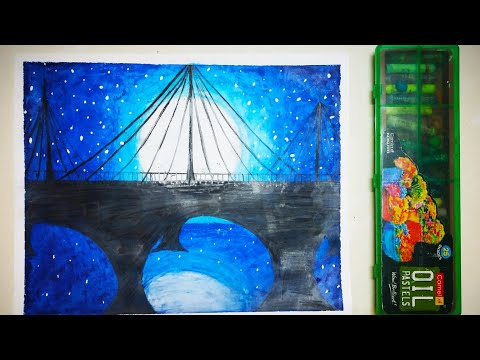 Beautiful landscape with oil pastels | Sparks Of Art