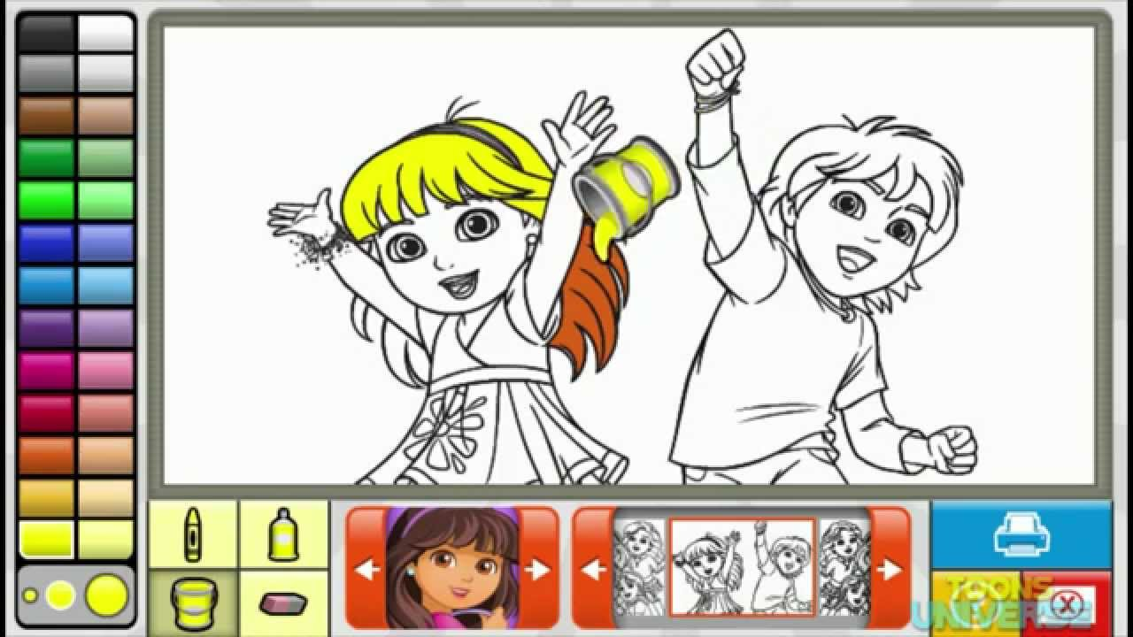 Nickelodeon Coloring Book Games : Dora and Diego Dora and Firends Episode Nick Jr. Coloring Book Creative for Children HD YouTube
