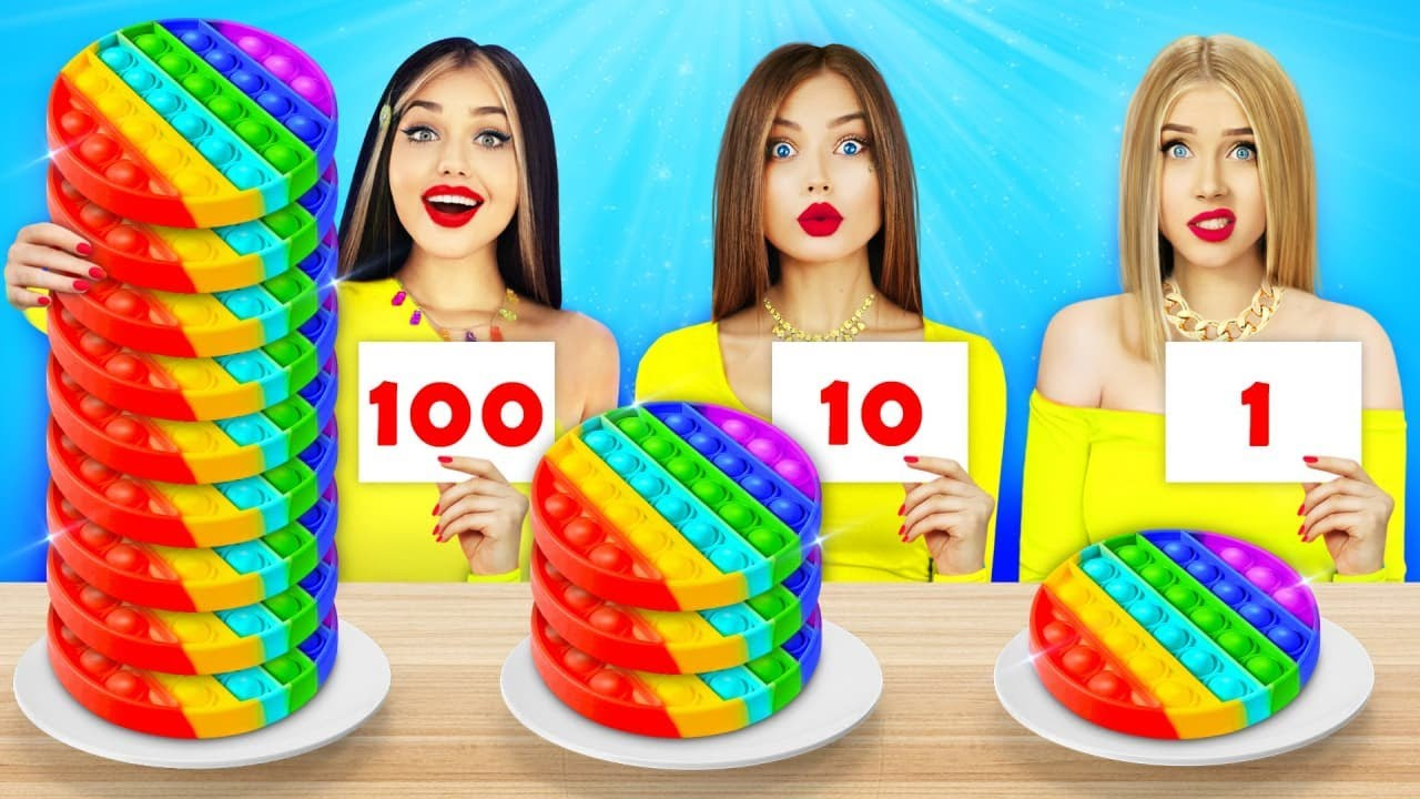 100 LAYERS FOOD CHALLENGE    Funny Food Wars For 24 Hours by RATATA  COOL