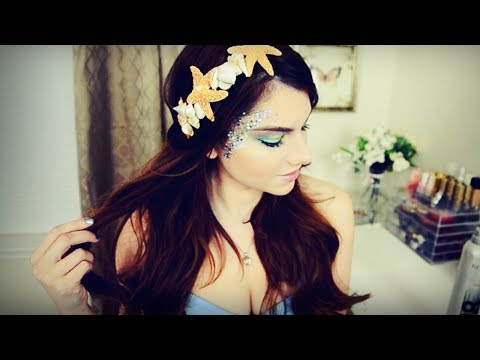 Mermaid Makeup, Hair, & DIY Seashell Headband I Halloween 2013