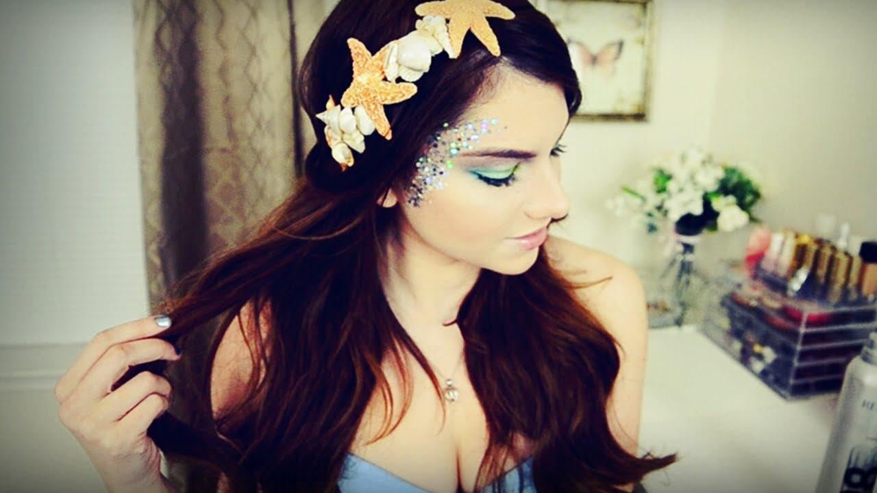 mermaid makeup, hair, & diy seashell headband i halloween - youtube