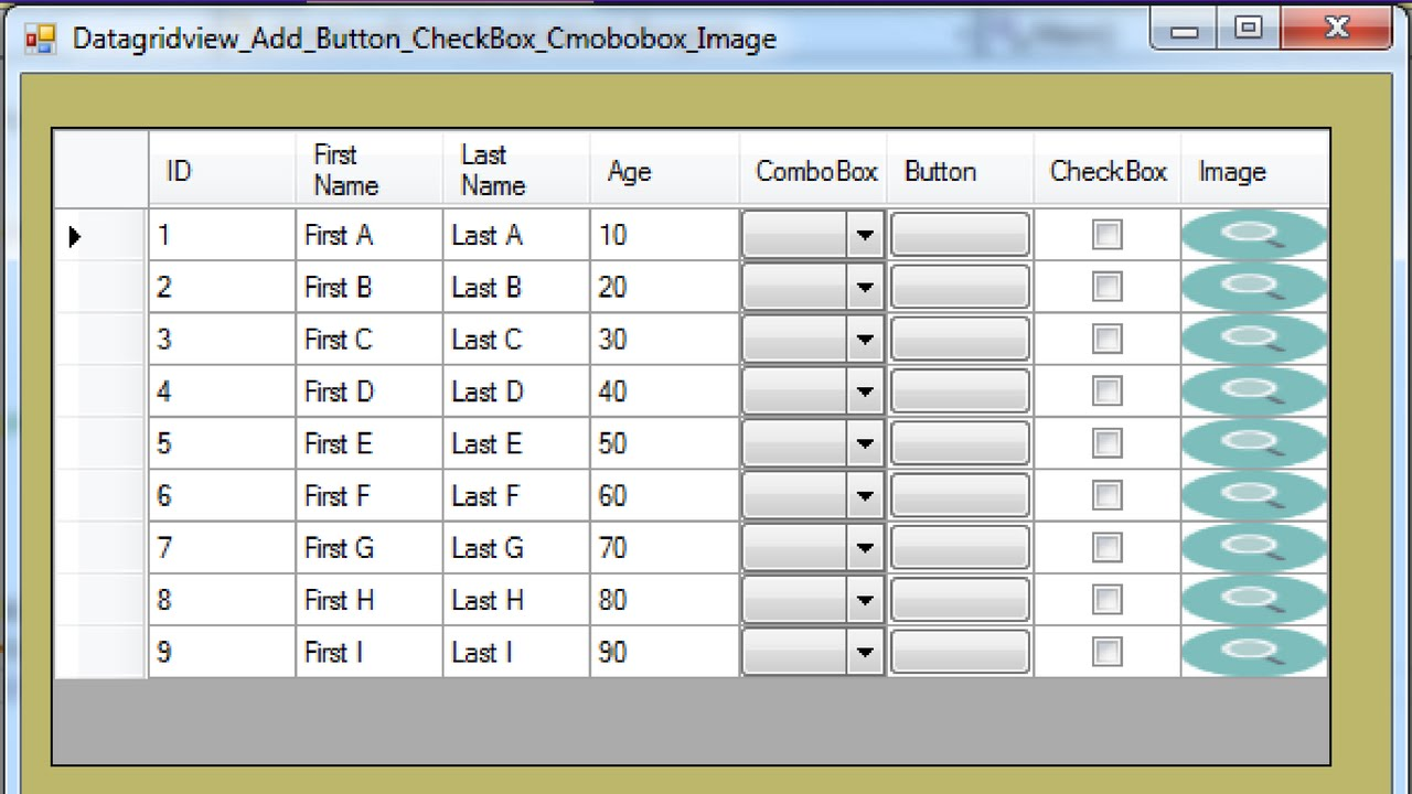 C# - How To Add ComboBox Button CheckBox Image to dataGridView In C# [ with  source code ]