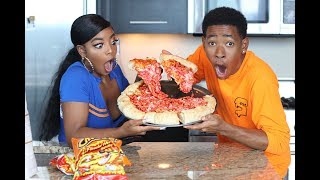 Download COOKING WITH DK4L | HOW TO MAKE A JUMBO FLAMIN' HOT CHEETOS PIZZA Mp3 and Videos