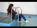 Jane Underwater Pool Jeans - Feet white Fetish girl HD clothes and shoes