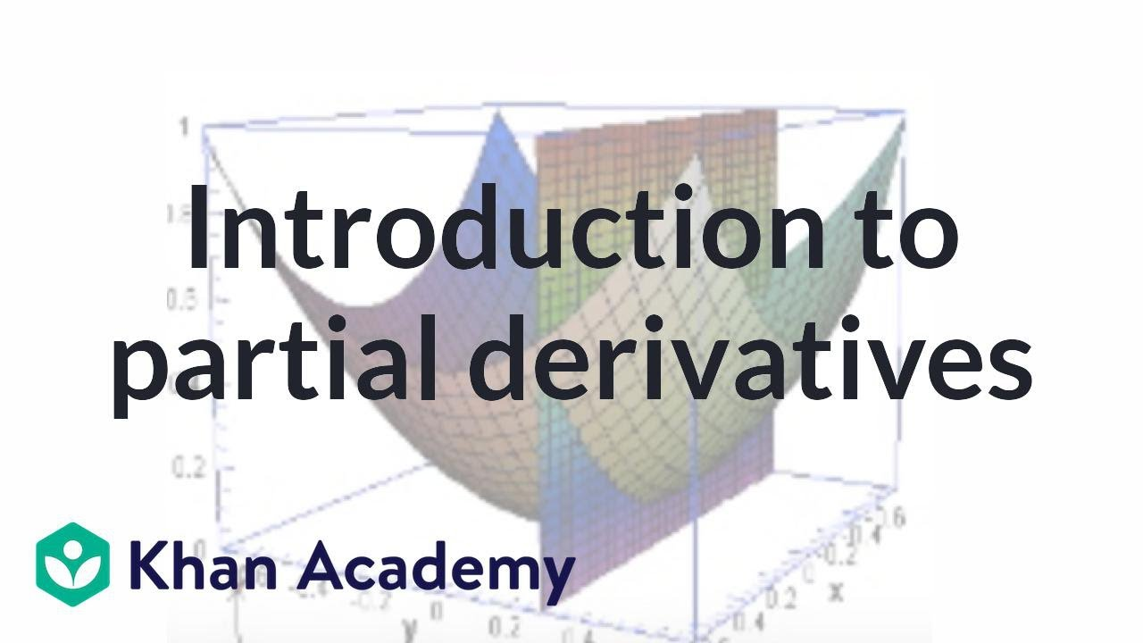 Partial Derivatives Multivariable Calculus Khan Academy Youtube