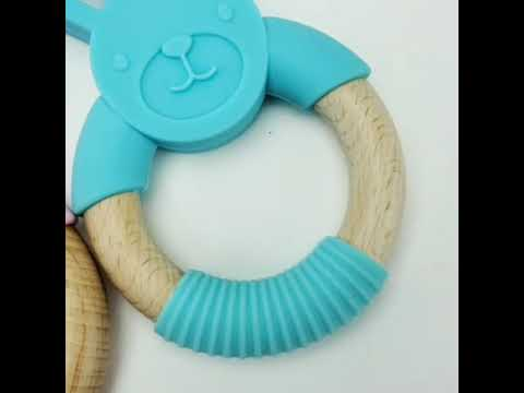 Organic Animal Natural Wood and Silicone Baby Teether Chew Toy Ring