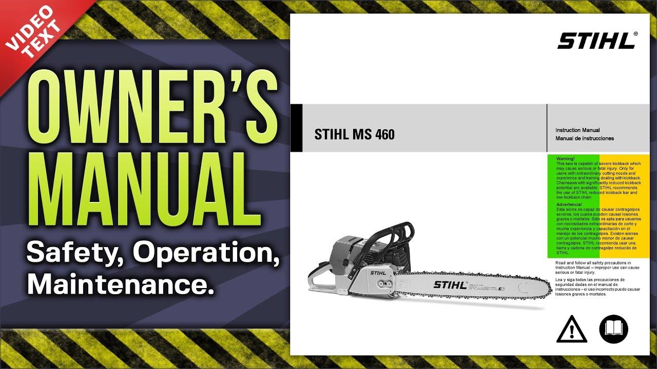 instruction manual stihl ms 460 chain saw youtube rh youtube com stihl chainsaw owners manual pdf stihl chainsaw owners manual ms 180