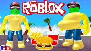I'M STARTING to GET FAT! SIMULATION of FAT MEN in Roblox Funny game for children EATING SIMULATOR
