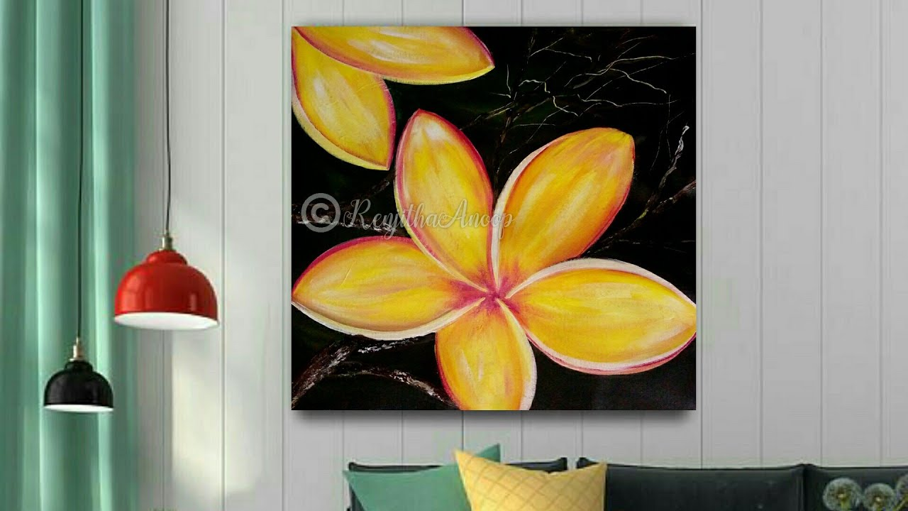 Step By Canvas Painting Demonstration Acrylic Simple Floral Flowers Satisfying Youtube