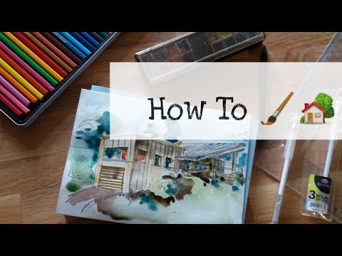 How To Draw A Moderne Hous With Felt Tip Pen And Watercolor