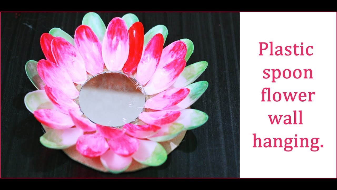 Plastic Spoon Lotus With Mirror Youtube