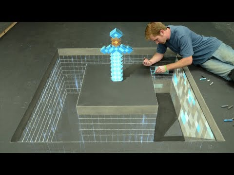 Minecraft Diamond Sword 3D Chalk Art - AWE me Artist Series