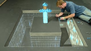 Minecraft Diamond Sword 3D Chalk Art - AWE me Artist Series