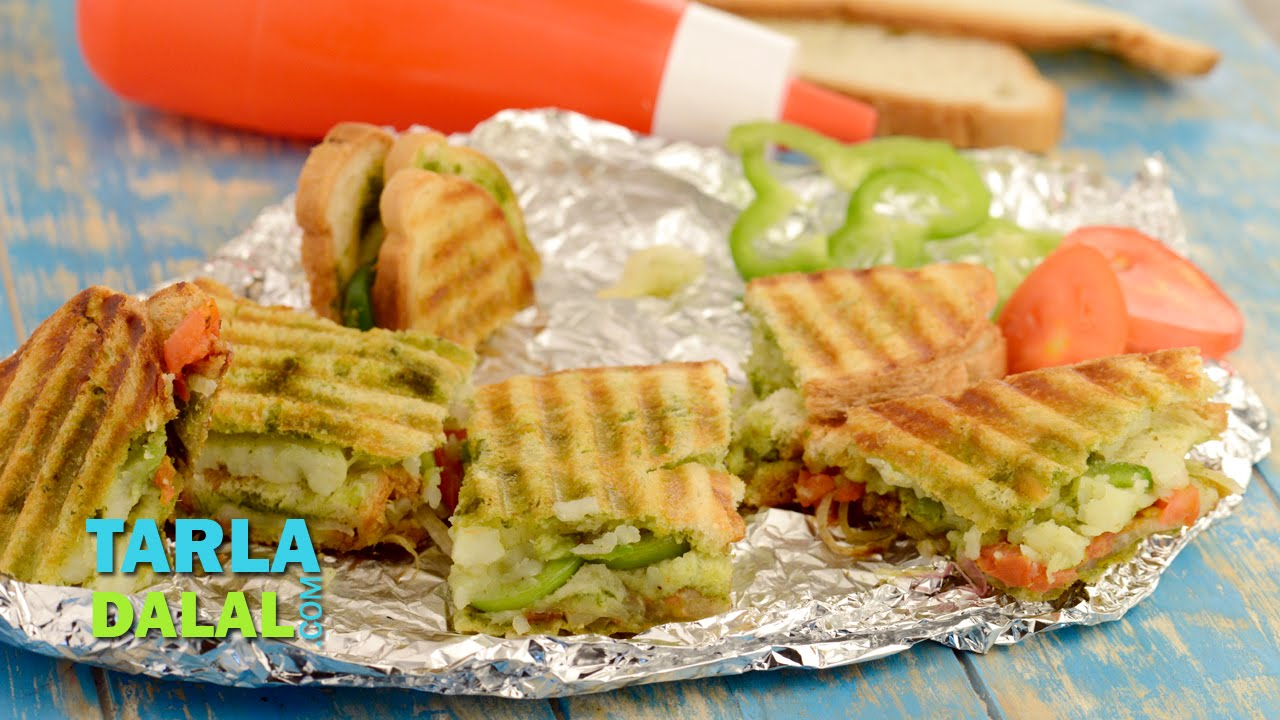 Vegetable grill sandwich mumbai roadside by tarla dalal youtube forumfinder Image collections