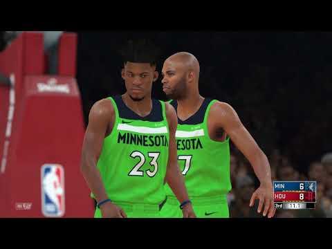 NBA 2K18 Houston Rockets Vs Minnessota Timberwolves ( 1 Minute Match )