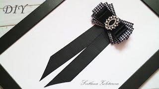 Женский галстук брошь из лент DIY Women tie brooch