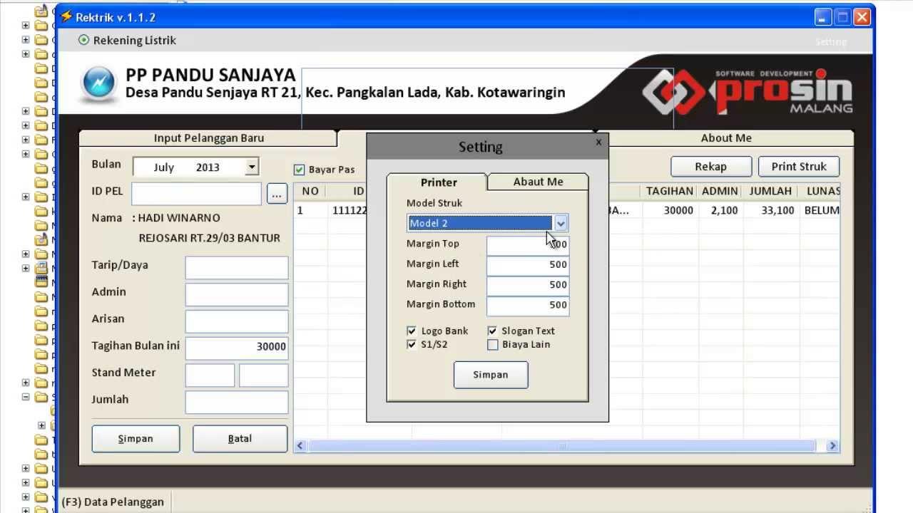 Software Aplikasi Cetak Struk Rekening Listrik Pln