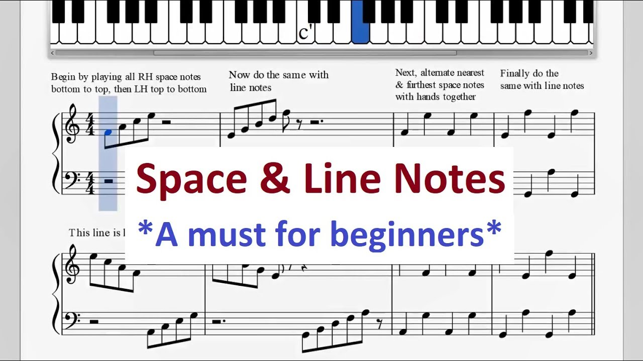 Piano Space & Line Note Exercises That Every Beginner Should Learn!