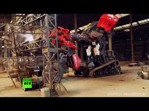 Watch these GIANT manned robots clash in first ever epic battle