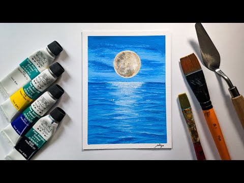 Landscape Challenge #11 – Moonlight Shadow / Acrylic Painting for beginners / Easy & Simple