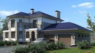 Проект дома в европейском стиле из кирпича. Дом с гаражом, сауной и террасой. Ремстройсервис KR-342