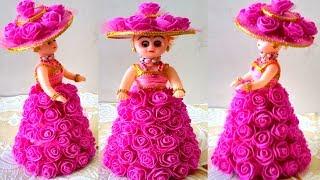 DIY Doll Decoration Using Foam ROSE FLOWER/Beautiful Rose Doll Dress Making/DIY Bridal Doll Decorate
