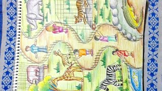 How to draw zoo - Step by step drawing of zoo animals