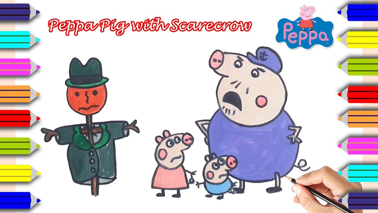 Coloring Peppa Pig with Scarecrow | Scarecrow Coloring Pages for ...